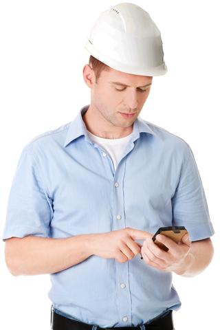 Contractor doing search on a cell phone